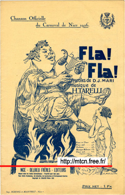 Fla ! Fla !  Official song of the carnival of Nice 1926