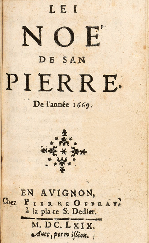third book of Christmas carols composed by Nicolas Saboly, known as Micoulau Sabòli - Lei nouve de San Pierre, Christmas carols of Saint Peter for the year 1669